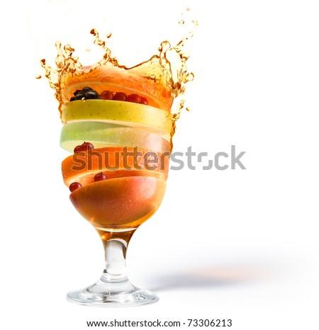 fruit cocktail, fruit juice vitamin stock photo