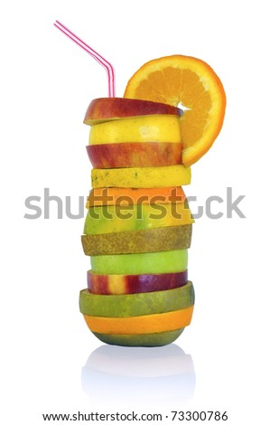 Fruit cocktail isolated in white