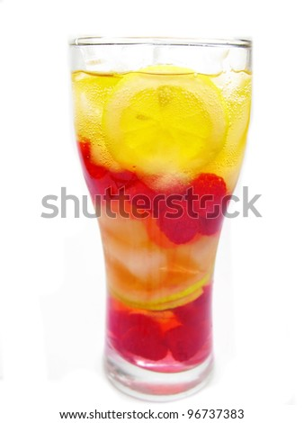Stock Photo Fruit Cocktail Juice Drink With Ice Raspberry And Lemon