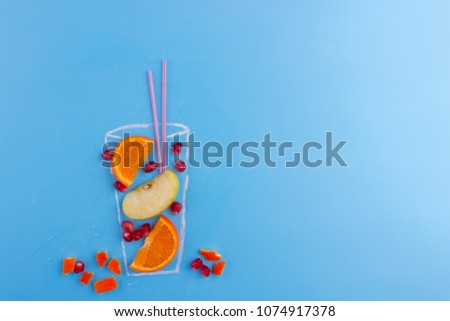 fruit cocktail on blue background. drawning of glass, #1074917378