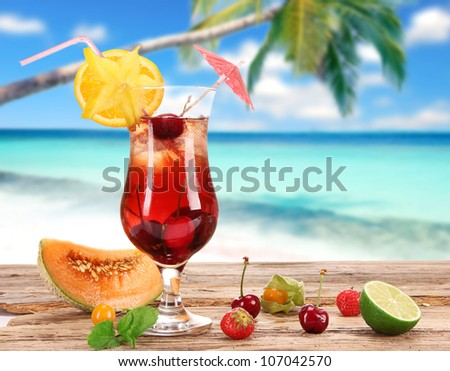 Fruit cocktail on the beach