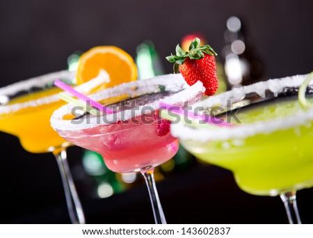 Fruit cocktails on black background #143602837
