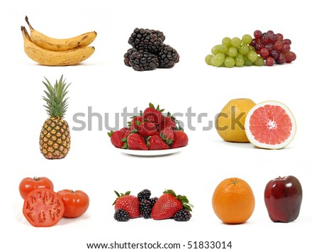 Fruit collage on white background