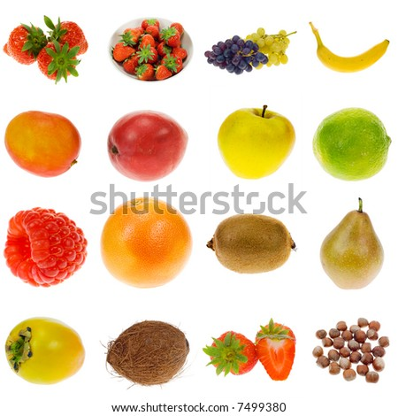 fruit collection isolated on a white background, all pieces individually photographed in studio and no shade so its easy to select.