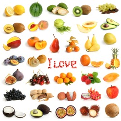 Fruit collection on a white background