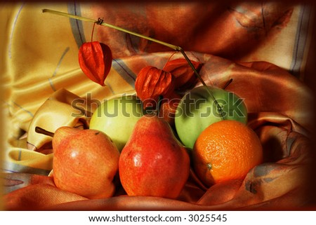 Fruit composition on a colorful material