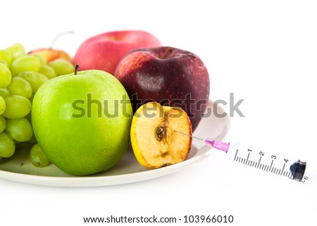 Fruit concept, isolate on white - stock photo
