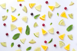 Fruit design background with cutting of citrus . Fruit pattern . Food style pattern. Food design pattern.