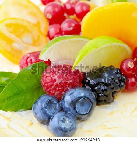 Fruit dessert close-up shot.