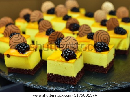 fruit dessert with berries divided into small portions