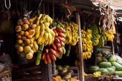 Fruit display at food market in Stone Town, Zanzibar