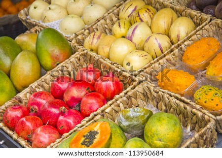 Fruit display in a street market