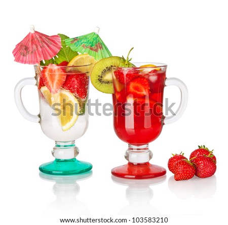 Fruit drink cocktail and  Red Strawberry isolated on white background
