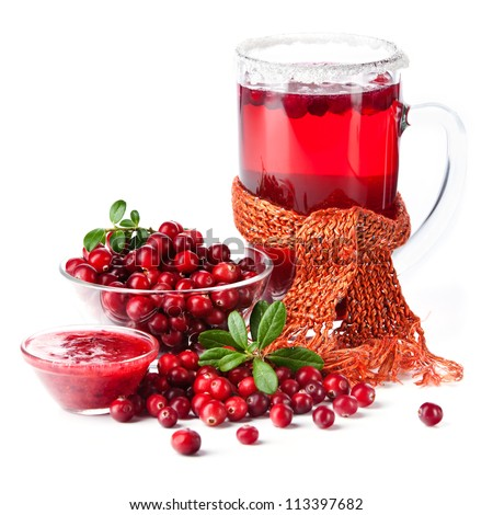 Fruit drink made from cranberries on white background