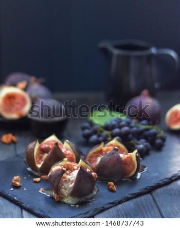 fruit fig sliced fig honey camembert baked  #1468737743