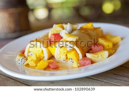 Fruit filled crepes