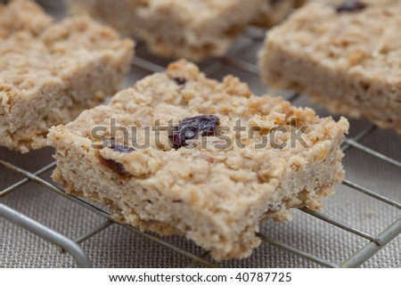 Fruit flapjack on a cooling tray