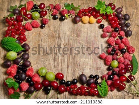 Fruit frame on a wooden table