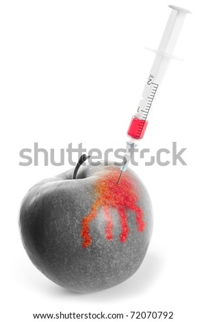 Fruit GMO. Apple pricked syringe with chemical preparation on a white background
