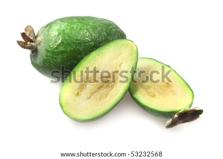 Fruit green feijoa, pineapple guava  isolated over white background