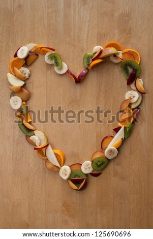Fruit Heart! Heart Shape of sliced fruits - for Valentines Day or a Healthy Heart!