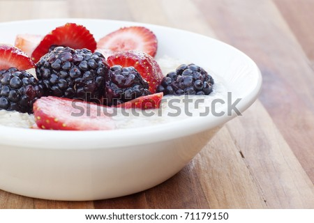 fruit in oatmeal bowl