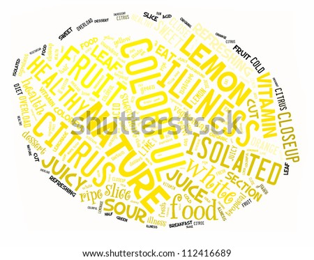 Fruit info-text graphics arrangement concept composed in lemon shape on white background
