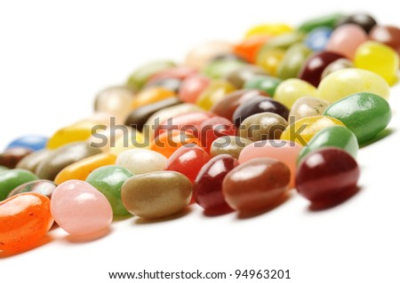fruit jelly beans, on white background