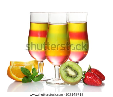 fruit jelly in glasses and fruits isolated on white