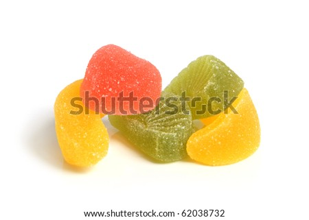 Fruit jelly on a white background