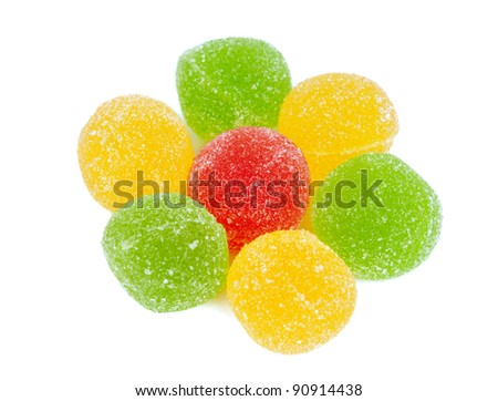 fruit jelly on white background