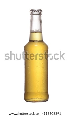 fruit juice beer bottle studio shot with cap isolated on white