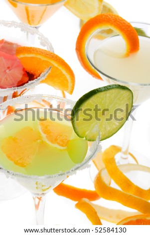 Fruit juice cocktail drink over white backlit background
