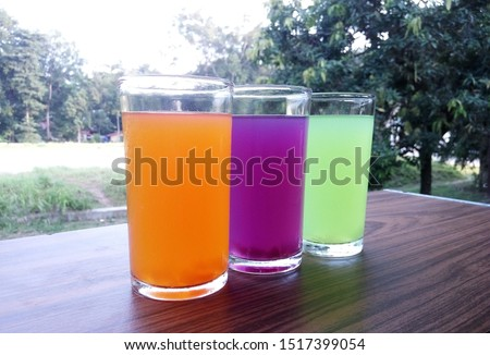 Fruit juice mixed with jelly, refreshed and refreshed after tiredness #1517399054