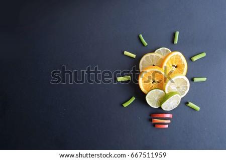 Fruit light bulb background #667511959