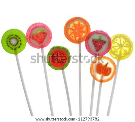 Fruit Lollipops Assortment On White Background