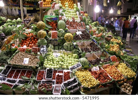 fruit market at night, taksim, istanbul, turkey - stock photo