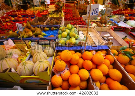 Fruit market Fresh healthy  fruits and vegetables on the market