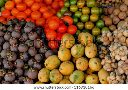 fruit market stall in asia