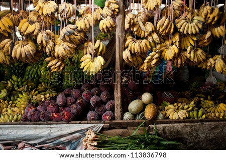 fruit market with banana, melon, watermelon and others