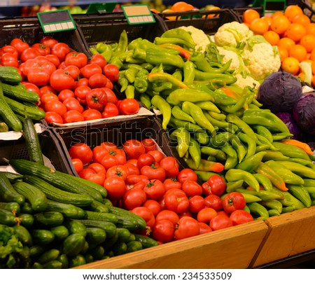Fruit market with various fresh fruits and vegetables. Supermarket