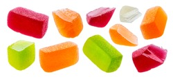 Fruit marmalade sweets, jelly candies isolated on white background with clipping path, collection