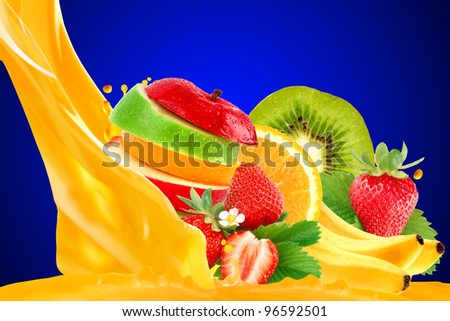 Fruit mix isolated on blue background