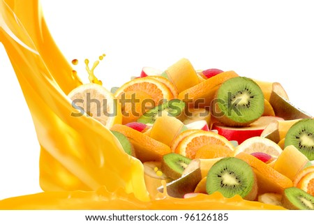 Fruit mix isolated on white background
