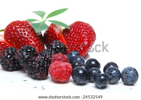 fruit mixed berries on white background