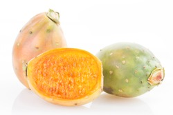 Fruit of the cactus on white background - Opuntia ficus indica