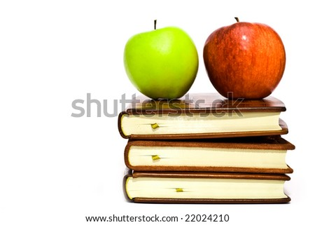 fruit on books