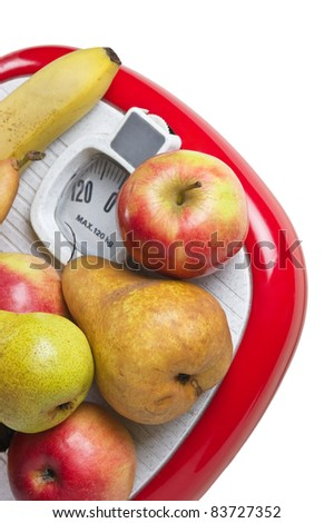 fruit on the floor scales isolated on white background