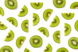 Fruit pattern of kiwi slices isolated on white background. Top view. Flat lay