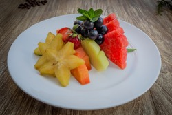 Fruit Platter on Wood Table